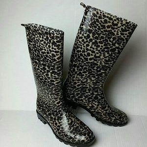 Capelli leopard print rain boots sz 9